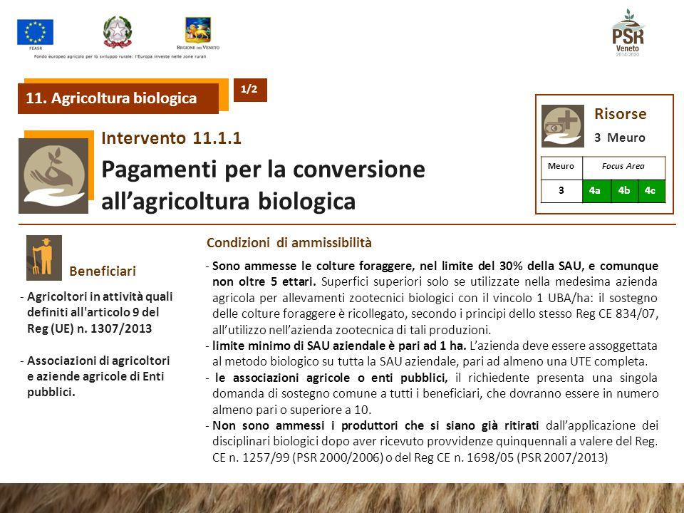 11.1.1Intervento Pagamenti per la conversione all'agricoltura biologica 11. Agricoltura biologica Risorse 3 Meuro MeuroFocus Area 34a4b4c Beneficiari