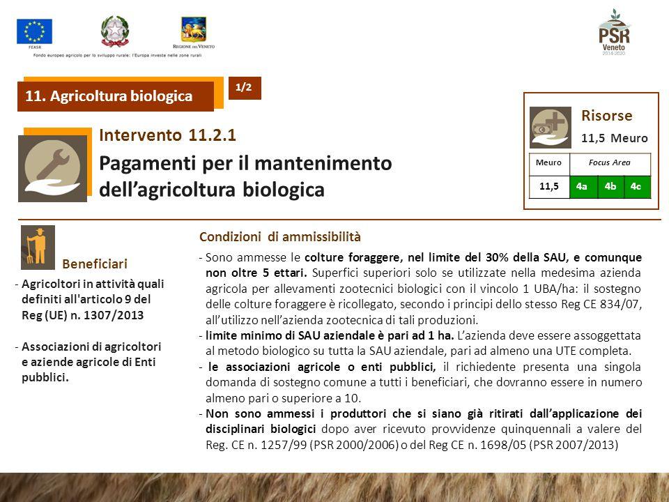 11.2.1Intervento Pagamenti per il mantenimento dell'agricoltura biologica Risorse 11,5 Meuro MeuroFocus Area 11,54a4b4c Beneficiari -Agricoltori in at