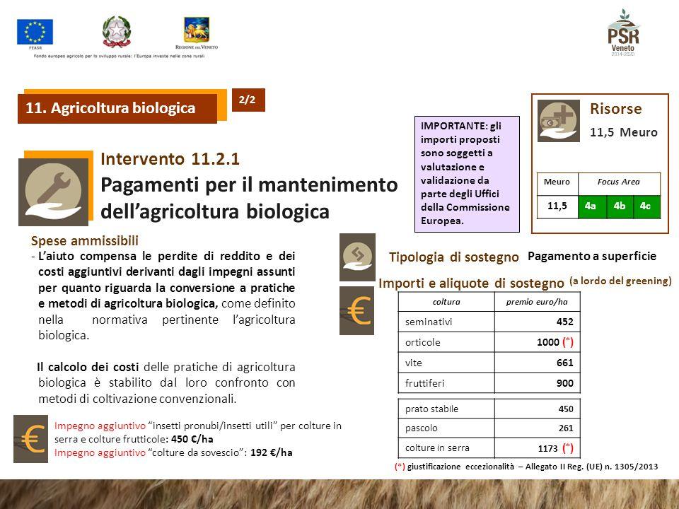 11.2.1Intervento Pagamenti per il mantenimento dell'agricoltura biologica Risorse 11,5 Meuro Tipologia di sostegno Pagamento a superficie Importi e al