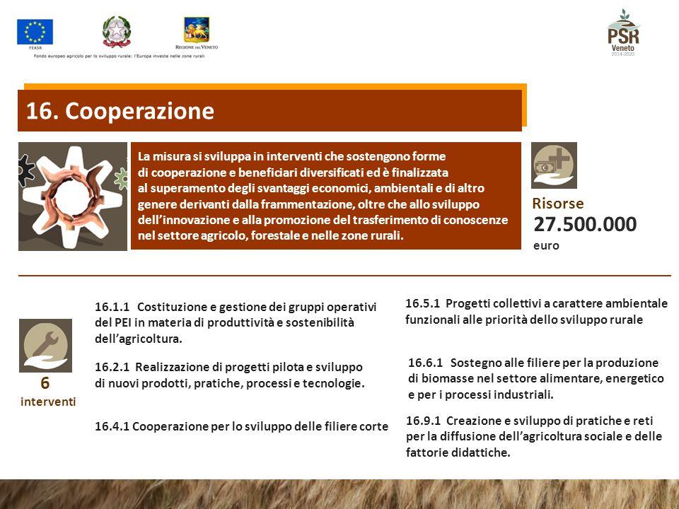 6 interventi 16.1.1 Costituzione e gestione dei gruppi operativi del PEI in materia di produttività e sostenibilità dell'agricoltura. 16.2.1 Realizzaz