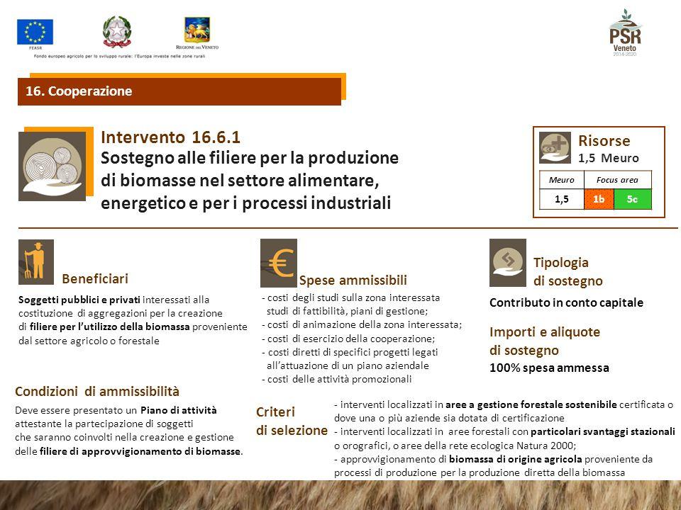 16.6.1Intervento Sostegno alle filiere per la produzione di biomasse nel settore alimentare, energetico e per i processi industriali Beneficiari Spese