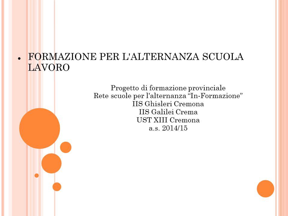 """Progetto di formazione provinciale Rete scuole per l'alternanza """"In-Formazione"""" IIS Ghisleri Cremona IIS Galilei Crema UST XIII Cremona a.s. 2014/15 F"""