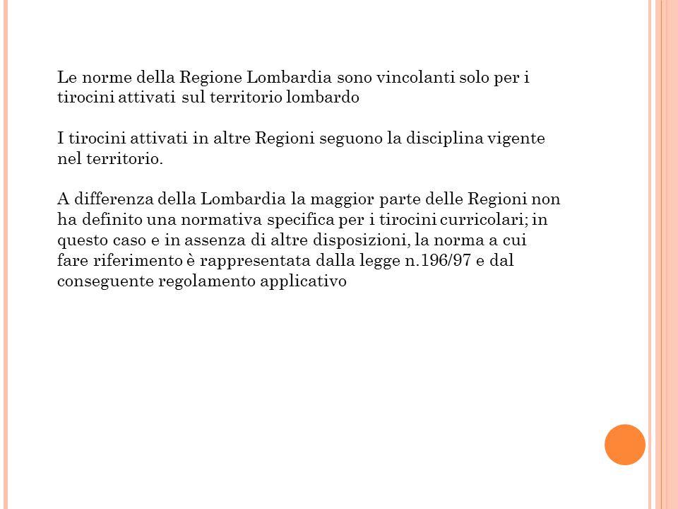 Le norme della Regione Lombardia sono vincolanti solo per i tirocini attivati sul territorio lombardo I tirocini attivati in altre Regioni seguono la