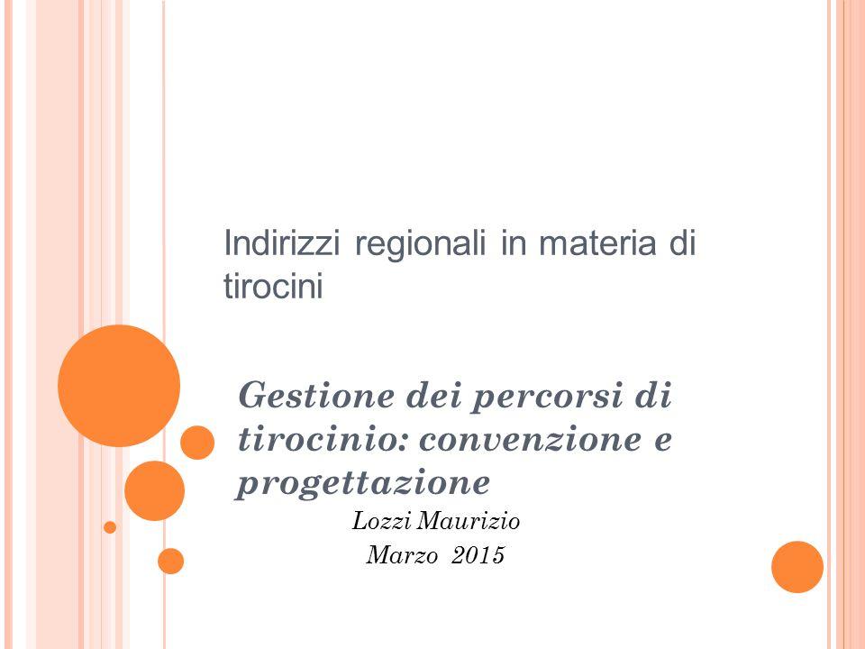 Indirizzi regionali in materia di tirocini Gestione dei percorsi di tirocinio: convenzione e progettazione Lozzi Maurizio Marzo 2015