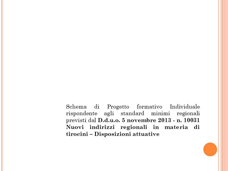 Schema di Progetto formativo Individuale rispondente agli standard minimi regionali previsti dal D.d.u.o. 5 novembre 2013 - n. 10031 Nuovi indirizzi r