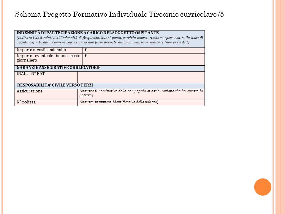 Schema Progetto Formativo Individuale Tirocinio curricolare /5 INDENNITÀ DI PARTECIPAZIONE A CARICO DEL SOGGETTO OSPITANTE (Indicare i dati relativi a