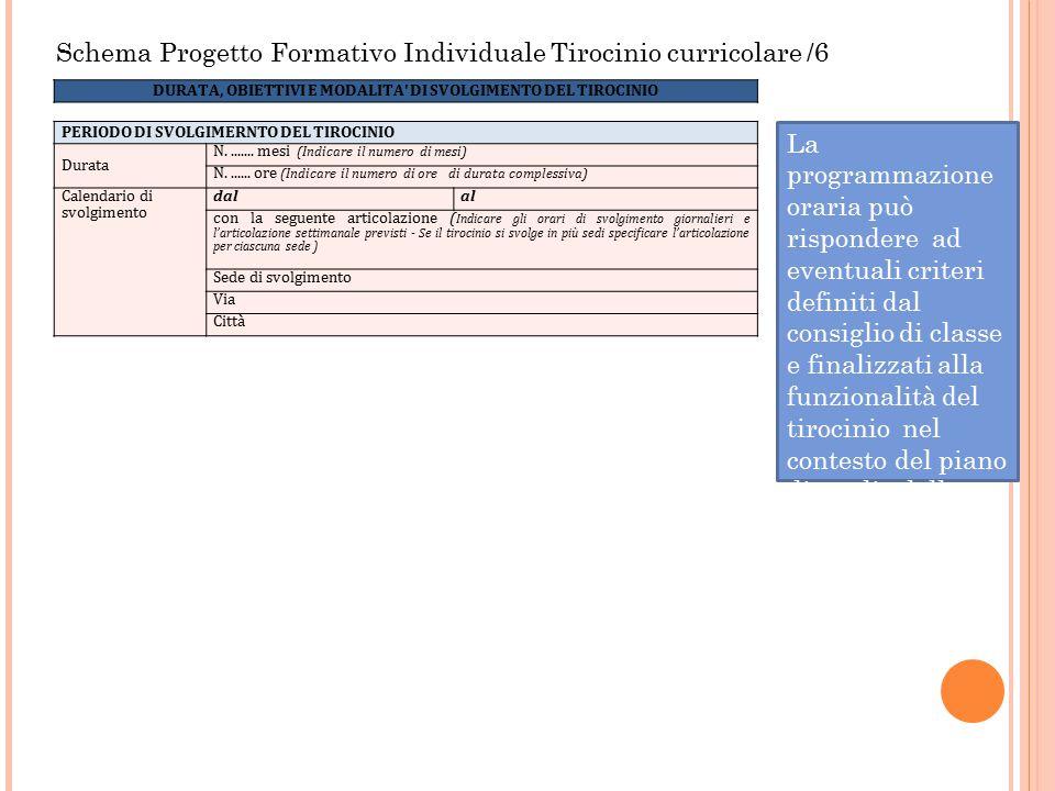 Schema Progetto Formativo Individuale Tirocinio curricolare /6 La programmazione oraria può rispondere ad eventuali criteri definiti dal consiglio di
