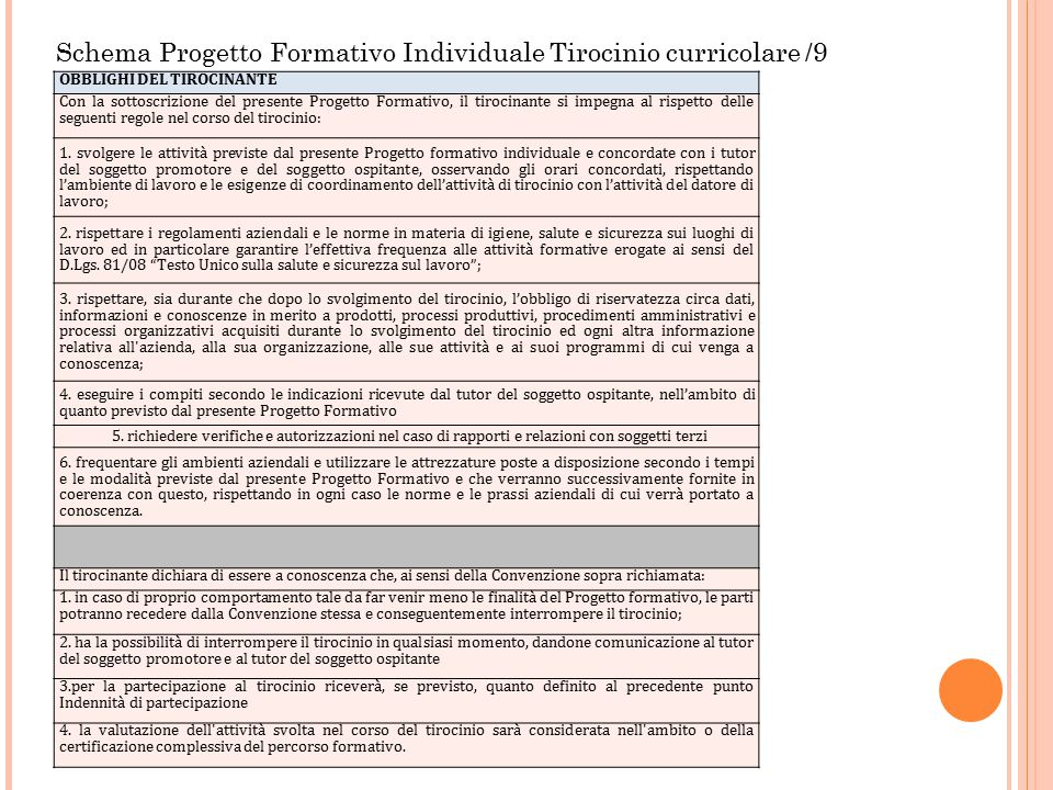 Schema Progetto Formativo Individuale Tirocinio curricolare /9 OBBLIGHI DEL TIROCINANTE Con la sottoscrizione del presente Progetto Formativo, il tiro