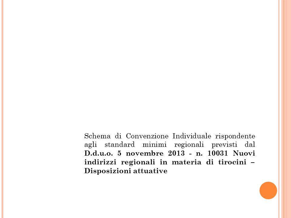 Schema di Convenzione Individuale rispondente agli standard minimi regionali previsti dal D.d.u.o. 5 novembre 2013 - n. 10031 Nuovi indirizzi regional