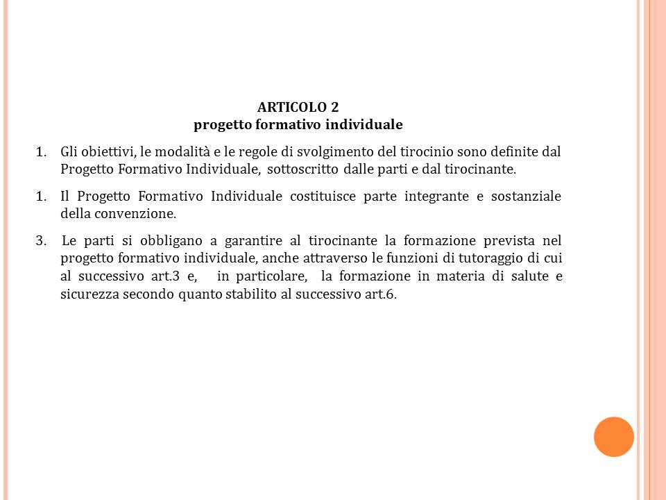 ARTICOLO 2 progetto formativo individuale 1.Gli obiettivi, le modalità e le regole di svolgimento del tirocinio sono definite dal Progetto Formativo I
