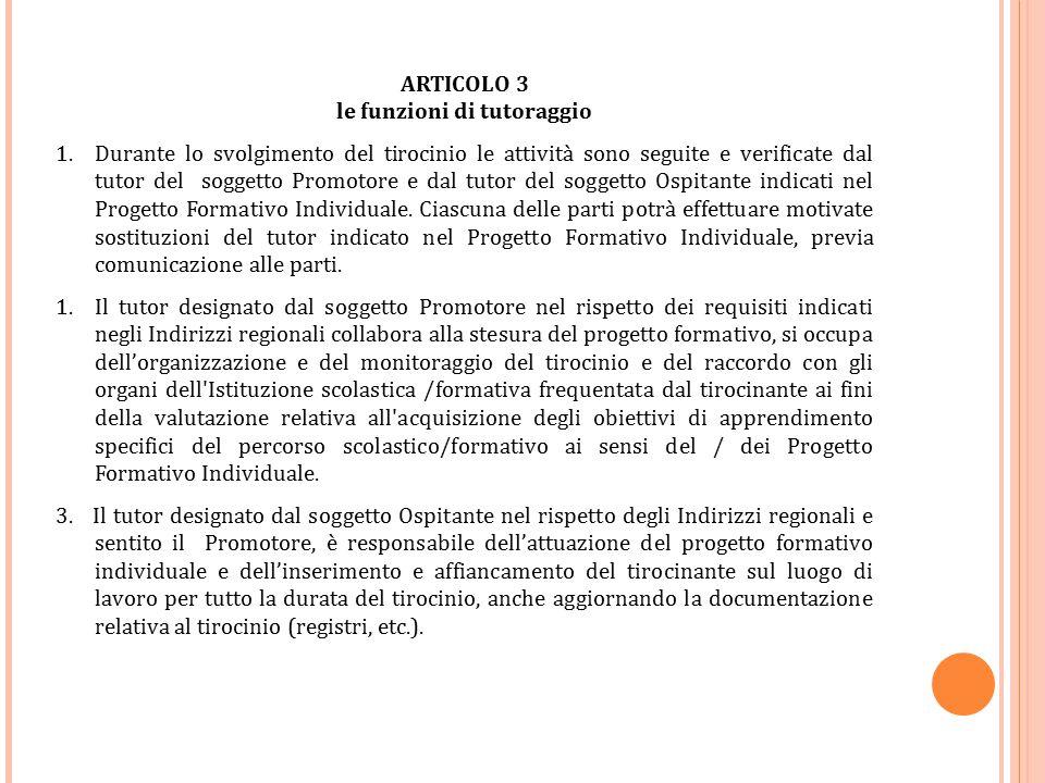 ARTICOLO 3 le funzioni di tutoraggio 1.Durante lo svolgimento del tirocinio le attività sono seguite e verificate dal tutor del soggetto Promotore e d