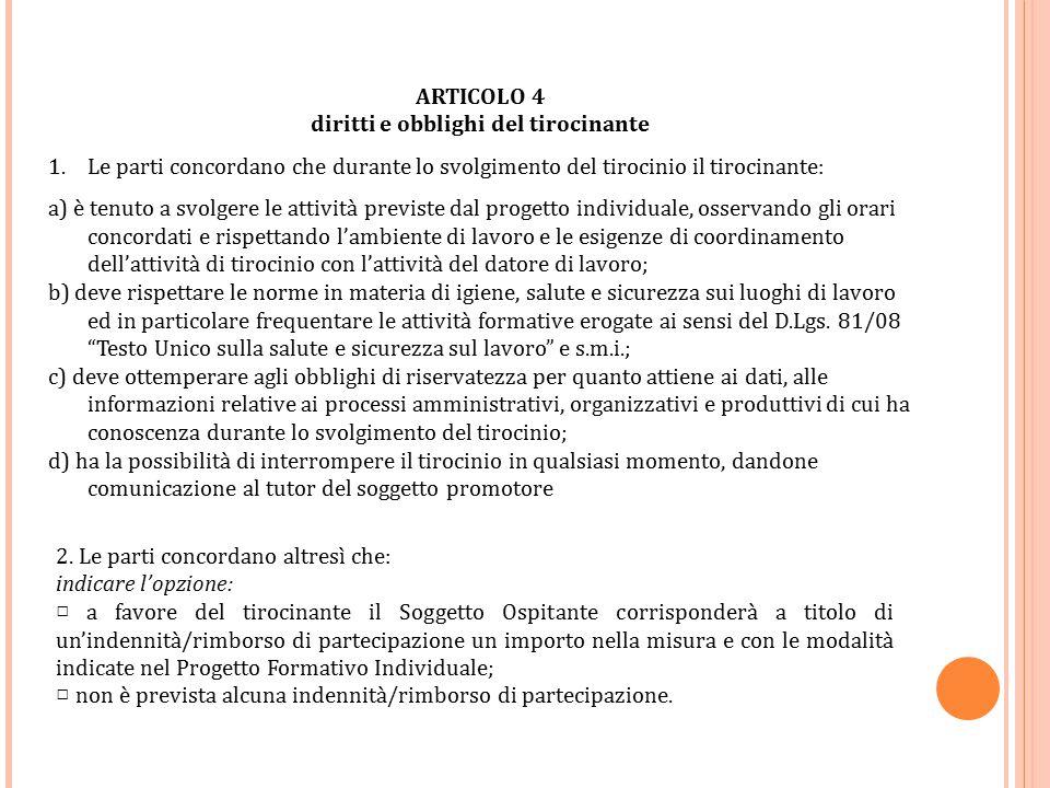 ARTICOLO 4 diritti e obblighi del tirocinante 1.Le parti concordano che durante lo svolgimento del tirocinio il tirocinante: a) è tenuto a svolgere le