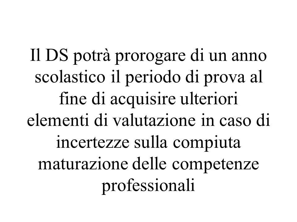 Il DS potrà prorogare di un anno scolastico il periodo di prova al fine di acquisire ulteriori elementi di valutazione in caso di incertezze sulla com
