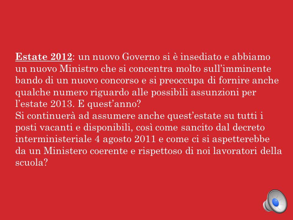 Anno 2007 : il Ministro Fioroni promette a noi docenti un'immissione in ruolo massiccia, ben 150000 posti in tre anni.