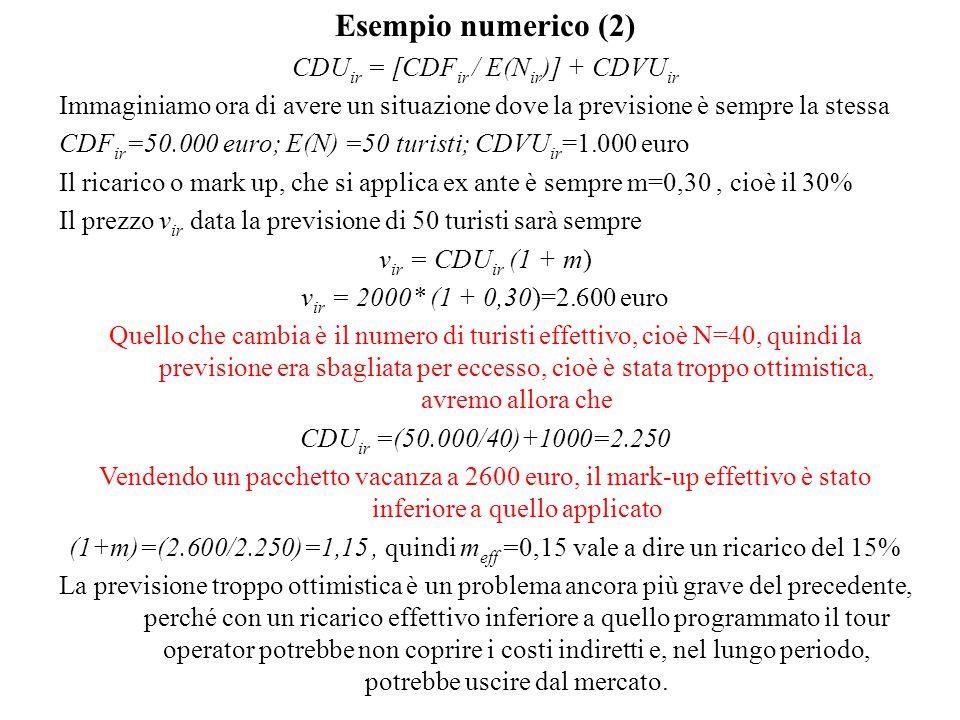 Esempio numerico (2) CDU ir = [CDF ir / E(N ir )] + CDVU ir Immaginiamo ora di avere un situazione dove la previsione è sempre la stessa CDF ir =50.000 euro; E(N) =50 turisti; CDVU ir =1.000 euro Il ricarico o mark up, che si applica ex ante è sempre m=0,30, cioè il 30% Il prezzo v ir data la previsione di 50 turisti sarà sempre v ir = CDU ir (1 + m) v ir = 2000* (1 + 0,30)=2.600 euro Quello che cambia è il numero di turisti effettivo, cioè N=40, quindi la previsione era sbagliata per eccesso, cioè è stata troppo ottimistica, avremo allora che CDU ir =(50.000/40)+1000=2.250 Vendendo un pacchetto vacanza a 2600 euro, il mark-up effettivo è stato inferiore a quello applicato (1+m)=(2.600/2.250)=1,15, quindi m eff =0,15 vale a dire un ricarico del 15% La previsione troppo ottimistica è un problema ancora più grave del precedente, perché con un ricarico effettivo inferiore a quello programmato il tour operator potrebbe non coprire i costi indiretti e, nel lungo periodo, potrebbe uscire dal mercato.