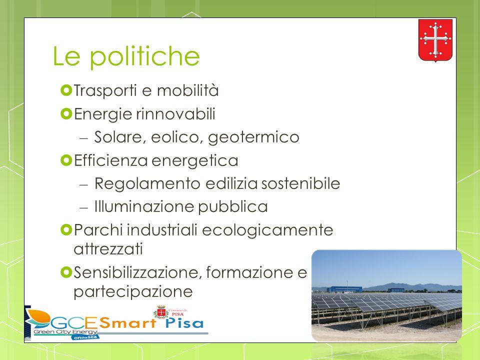 Le politiche  Trasporti e mobilità  Energie rinnovabili – Solare, eolico, geotermico  Efficienza energetica – Regolamento edilizia sostenibile – Il
