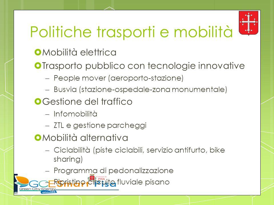 Politiche trasporti e mobilità  Mobilità elettrica  Trasporto pubblico con tecnologie innovative – People mover (aeroporto-stazione) – Busvia (stazi