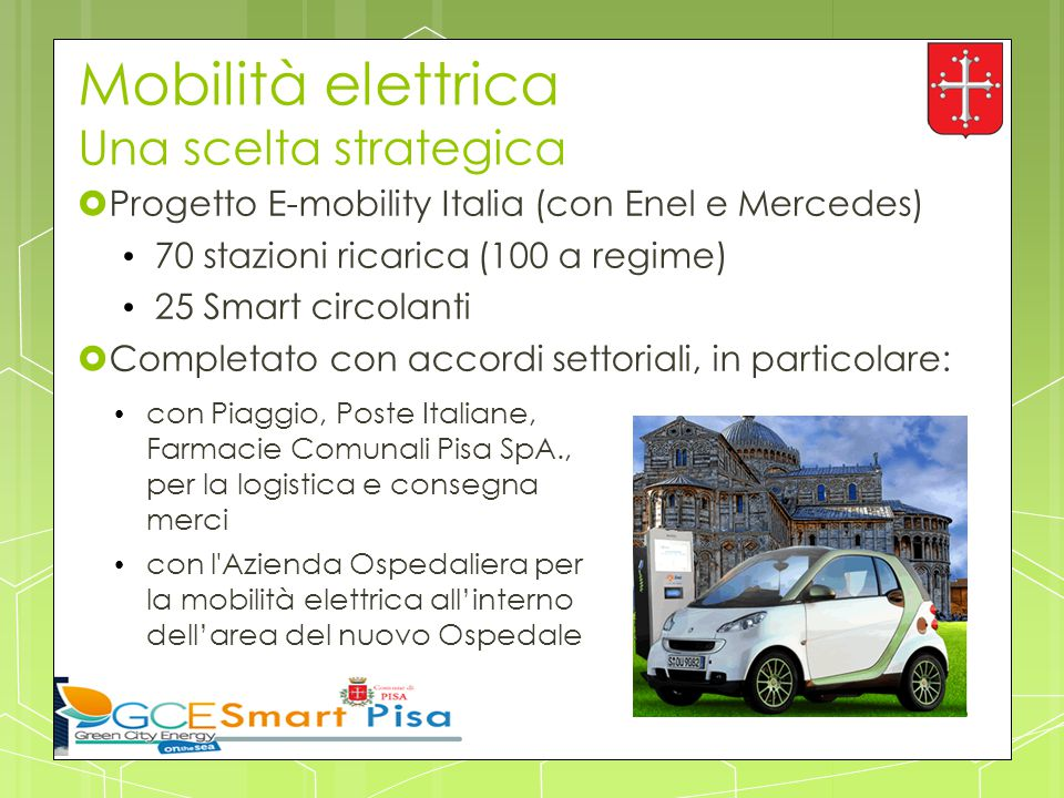 Mobilità elettrica Una scelta strategica  Progetto E-mobility Italia (con Enel e Mercedes) 70 stazioni ricarica (100 a regime) 25 Smart circolanti 