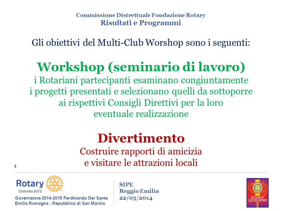 3 SIPE Reggio Emilia 22/03/2014 Commissione Distrettuale Fondazione Rotary Risultati e Programmi Governatore 2014-2015 Ferdinando Del Sante Emilia Rom
