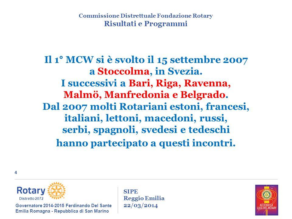 4 SIPE Reggio Emilia 22/03/2014 Commissione Distrettuale Fondazione Rotary Risultati e Programmi Governatore 2014-2015 Ferdinando Del Sante Emilia Romagna - Repubblica di San Marino Distretto 2072 Il 1° MCW si è svolto il 15 settembre 2007 a Stoccolma, in Svezia.