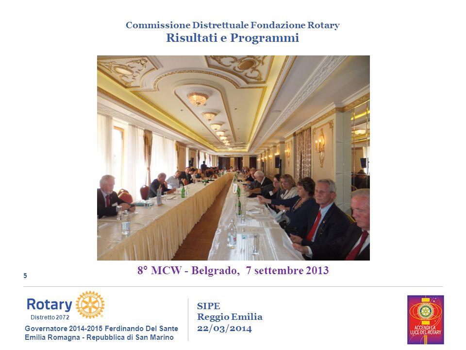 5 SIPE Reggio Emilia 22/03/2014 Commissione Distrettuale Fondazione Rotary Risultati e Programmi Governatore 2014-2015 Ferdinando Del Sante Emilia Rom