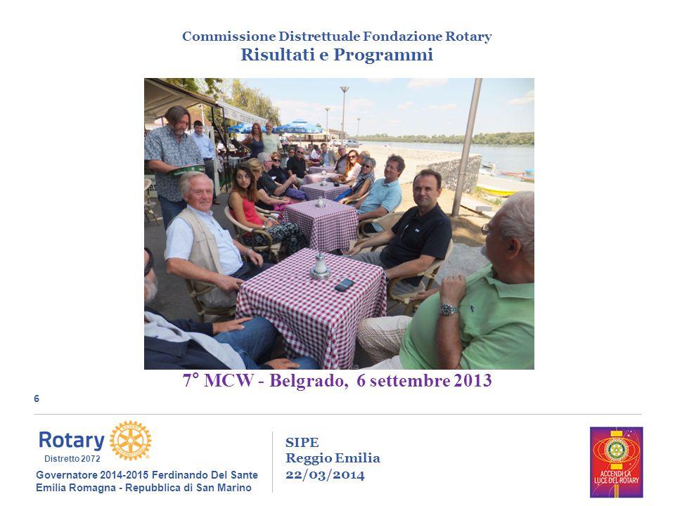 6 SIPE Reggio Emilia 22/03/2014 Commissione Distrettuale Fondazione Rotary Risultati e Programmi Governatore 2014-2015 Ferdinando Del Sante Emilia Rom