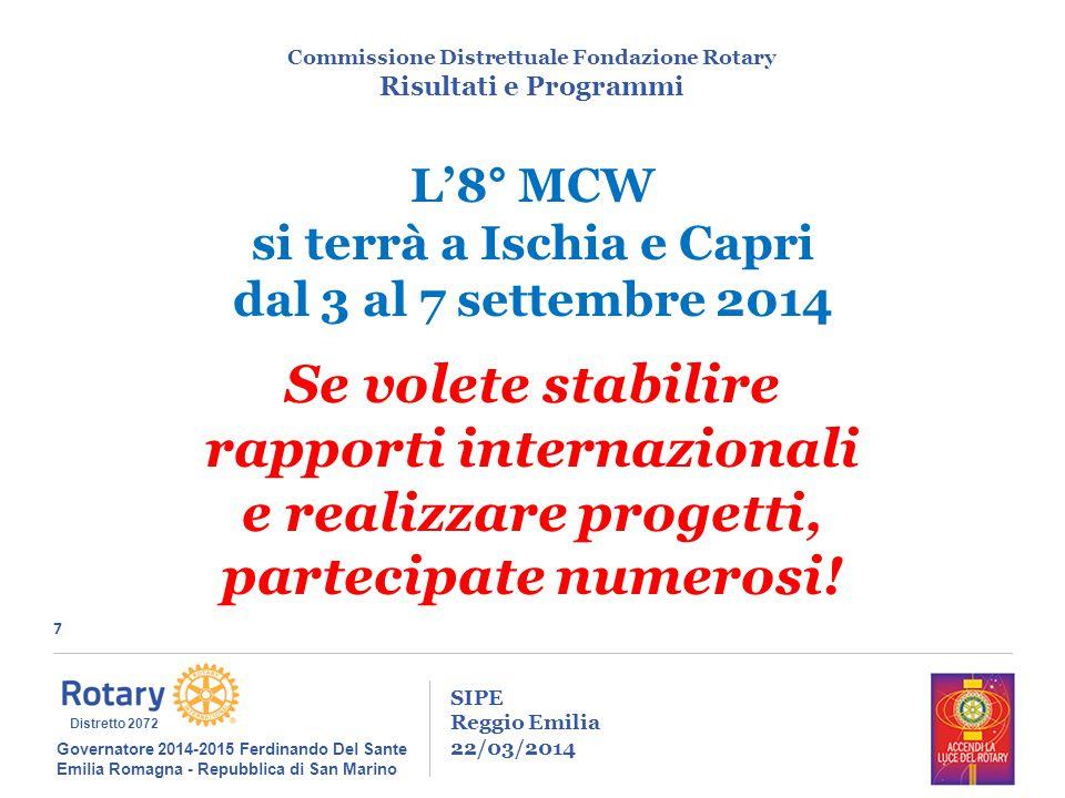 7 SIPE Reggio Emilia 22/03/2014 Commissione Distrettuale Fondazione Rotary Risultati e Programmi Governatore 2014-2015 Ferdinando Del Sante Emilia Rom