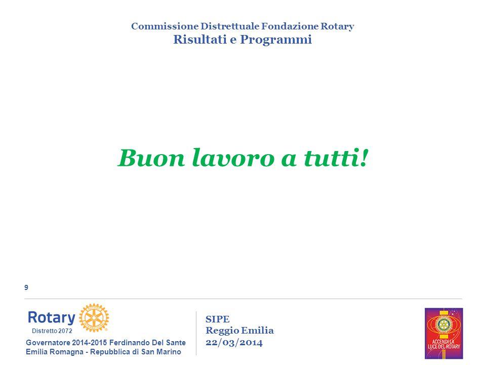 9 SIPE Reggio Emilia 22/03/2014 Commissione Distrettuale Fondazione Rotary Risultati e Programmi Governatore 2014-2015 Ferdinando Del Sante Emilia Rom