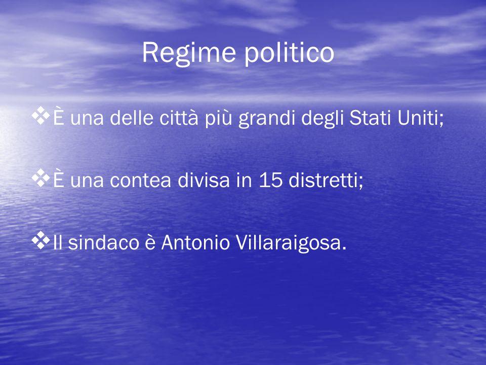 Regime politico   È una delle città più grandi degli Stati Uniti;   È una contea divisa in 15 distretti;   Il sindaco è Antonio Villaraigosa.