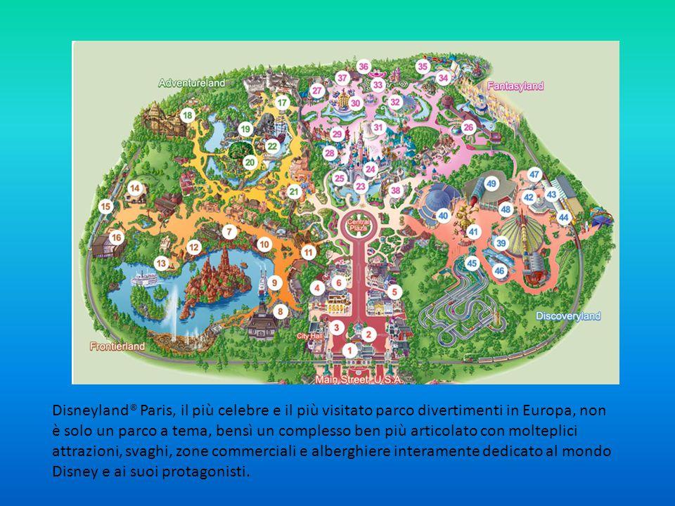 Disneyland® Paris, il più celebre e il più visitato parco divertimenti in Europa, non è solo un parco a tema, bensì un complesso ben più articolato con molteplici attrazioni, svaghi, zone commerciali e alberghiere interamente dedicato al mondo Disney e ai suoi protagonisti.