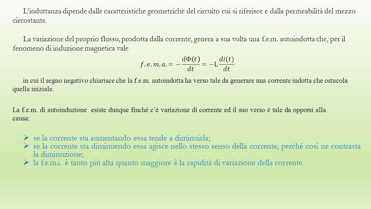 L'induttanza dipende dalle caratteristiche geometriche del circuito cui si riferisce e dalla permeabilità del mezzo circostante.