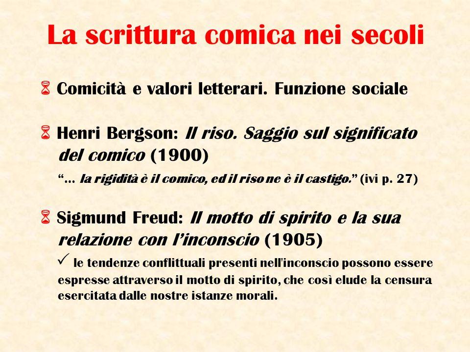 """La scrittura comica nei secoli  Comicità e valori letterari. Funzione sociale  Henri Bergson: Il riso. Saggio sul significato del comico (1900) """"… l"""