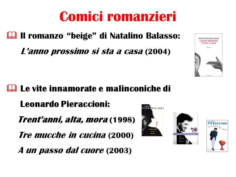 Comici romanzieri  Il romanzo beige di Natalino Balasso: L'anno prossimo si sta a casa (2004)  Le vite innamorate e malinconiche di Leonardo Pieraccioni: Trent'anni, alta, mora (1998) Tre mucche in cucina (2000) A un passo dal cuore (2003)