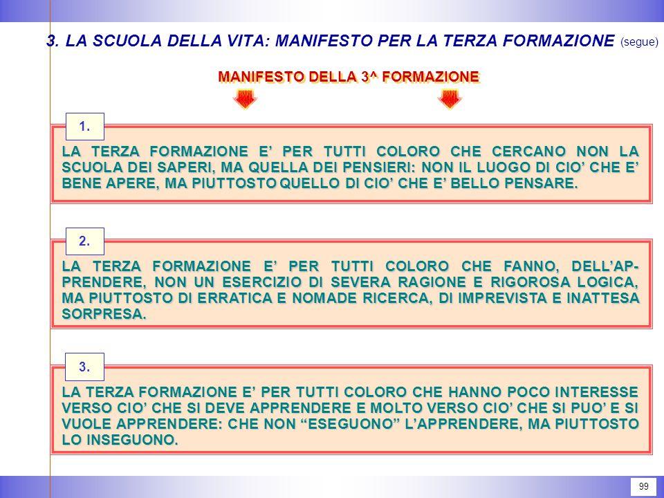 99 MANIFESTO DELLA 3^ FORMAZIONE 3.LA SCUOLA DELLA VITA: MANIFESTO PER LA TERZA FORMAZIONE (segue) 1.