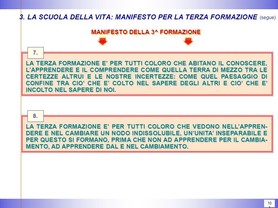 101 MANIFESTO DELLA 3^ FORMAZIONE 3.LA SCUOLA DELLA VITA: MANIFESTO PER LA TERZA FORMAZIONE (segue) 7.
