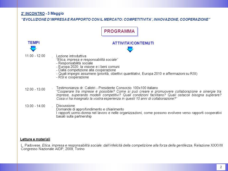 """2 PROGRAMMA.Lezione introduttiva """"Etica, impresa e responsabilità sociale"""" -Responsabilità sociale -Europa 2020: la visione e i beni comuni -Dalla com"""