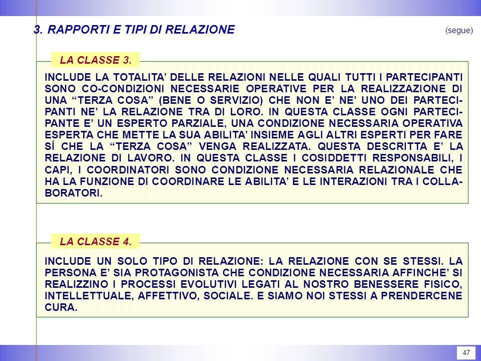 47 3.RAPPORTI E TIPI DI RELAZIONE LA CLASSE 3.