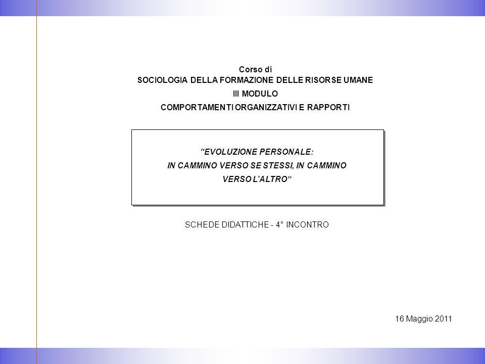 """16 Maggio 2011 """"EVOLUZIONE PERSONALE: IN CAMMINO VERSO SE STESSI, IN CAMMINO VERSO L'ALTRO"""" SCHEDE DIDATTICHE - 4° INCONTRO Corso di SOCIOLOGIA DELLA"""