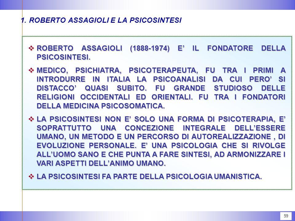 59 1.ROBERTO ASSAGIOLI E LA PSICOSINTESI  ROBERTO ASSAGIOLI (1888-1974) E' IL FONDATORE DELLA PSICOSINTESI.  MEDICO, PSICHIATRA, PSICOTERAPEUTA, FU