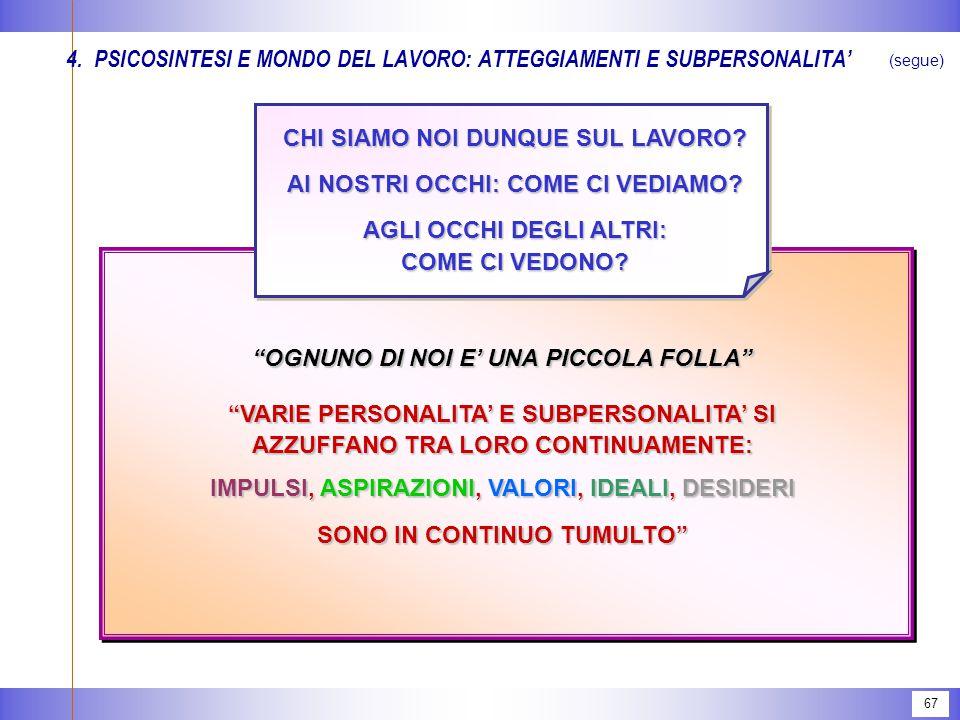 67 4.PSICOSINTESI E MONDO DEL LAVORO: ATTEGGIAMENTI E SUBPERSONALITA' (segue) CHI SIAMO NOI DUNQUE SUL LAVORO.