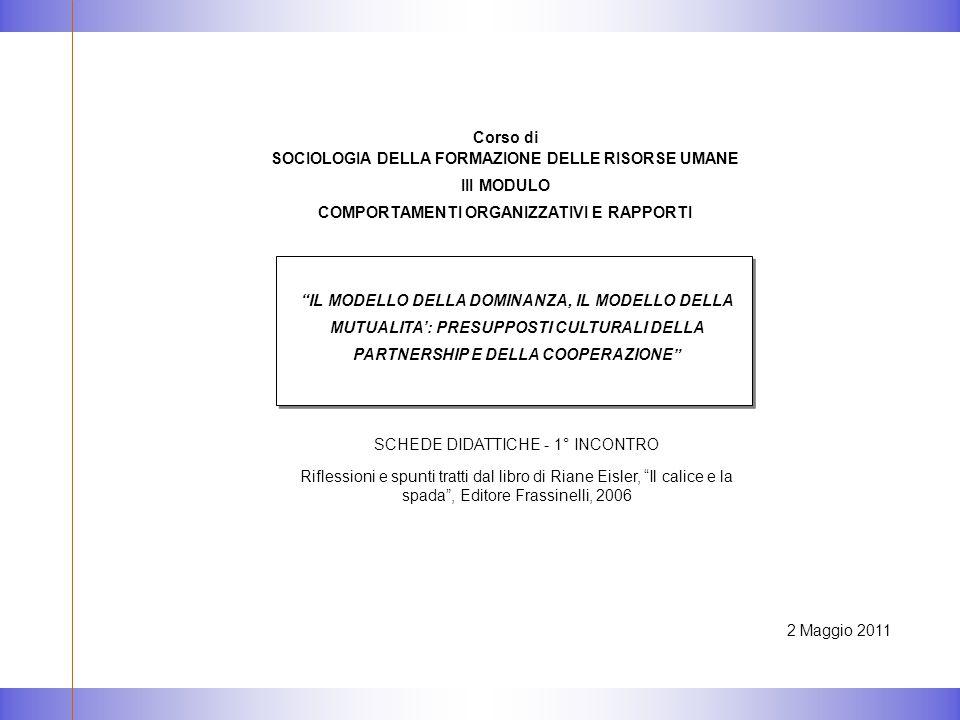 2 Maggio 2011 IL MODELLO DELLA DOMINANZA, IL MODELLO DELLA MUTUALITA': PRESUPPOSTI CULTURALI DELLA PARTNERSHIP E DELLA COOPERAZIONE SCHEDE DIDATTICHE - 1° INCONTRO Riflessioni e spunti tratti dal libro di Riane Eisler, Il calice e la spada , Editore Frassinelli, 2006 Corso di SOCIOLOGIA DELLA FORMAZIONE DELLE RISORSE UMANE III MODULO COMPORTAMENTI ORGANIZZATIVI E RAPPORTI