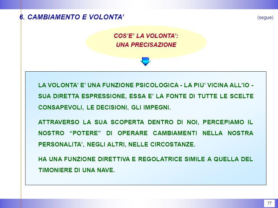 77 6.CAMBIAMENTO E VOLONTA' (segue) LA VOLONTA' E' UNA FUNZIONE PSICOLOGICA - LA PIU' VICINA ALL'IO - SUA DIRETTA ESPRESSIONE, ESSA E' LA FONTE DI TUTTE LE SCELTE CONSAPEVOLI, LE DECISIONI, GLI IMPEGNI.