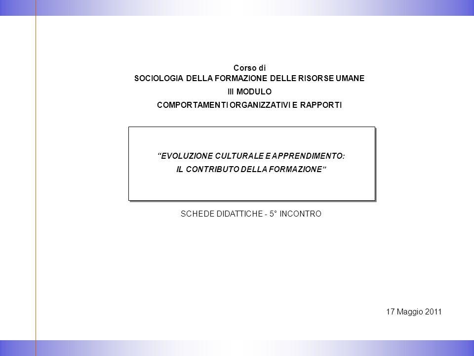 17 Maggio 2011 EVOLUZIONE CULTURALE E APPRENDIMENTO: IL CONTRIBUTO DELLA FORMAZIONE SCHEDE DIDATTICHE - 5° INCONTRO Corso di SOCIOLOGIA DELLA FORMAZIONE DELLE RISORSE UMANE III MODULO COMPORTAMENTI ORGANIZZATIVI E RAPPORTI