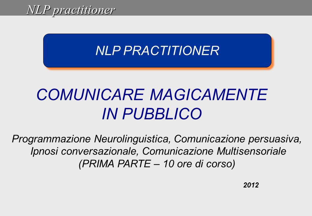 NLP practitioner 2012 NLP PRACTITIONER COMUNICARE MAGICAMENTE IN PUBBLICO Programmazione Neurolinguistica, Comunicazione persuasiva, Ipnosi conversazi