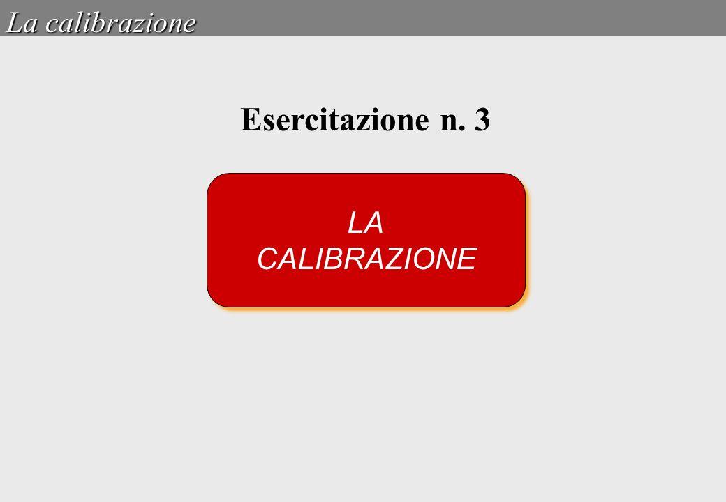 LA CALIBRAZIONE LA CALIBRAZIONE La calibrazione Esercitazione n. 3