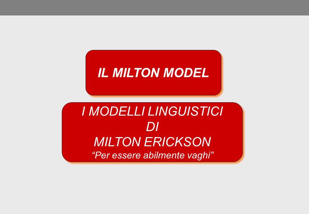 """IL MILTON MODEL I MODELLI LINGUISTICI DI MILTON ERICKSON """"Per essere abilmente vaghi"""" I MODELLI LINGUISTICI DI MILTON ERICKSON """"Per essere abilmente v"""