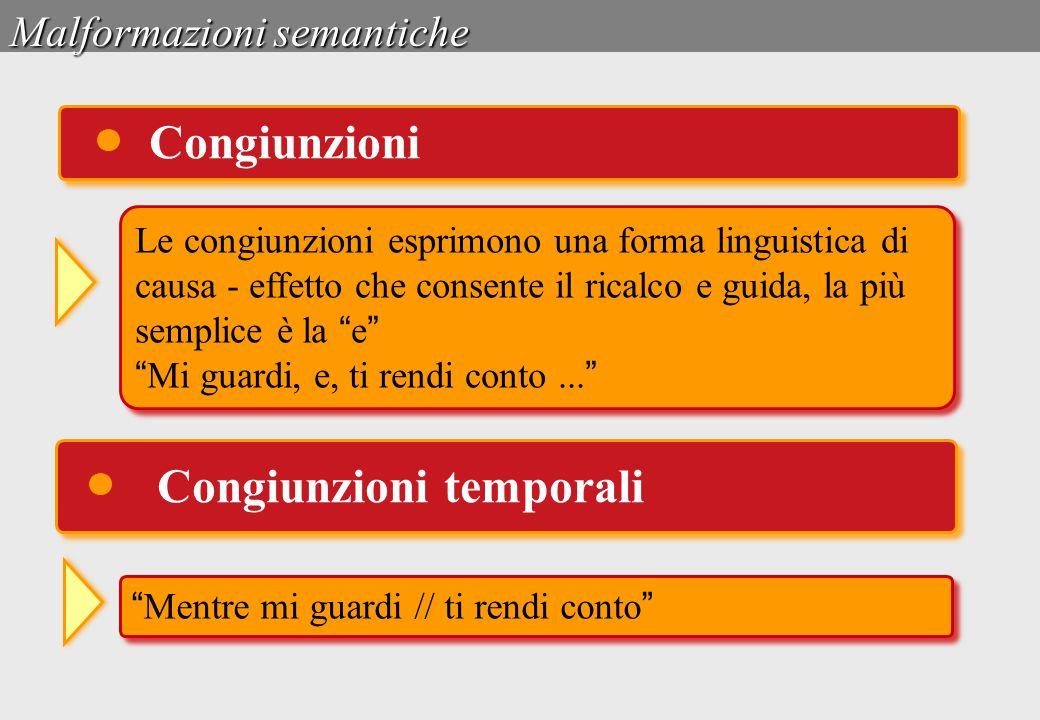 Malformazioni semantiche Congiunzioni Le congiunzioni esprimono una forma linguistica di causa - effetto che consente il ricalco e guida, la più sempl