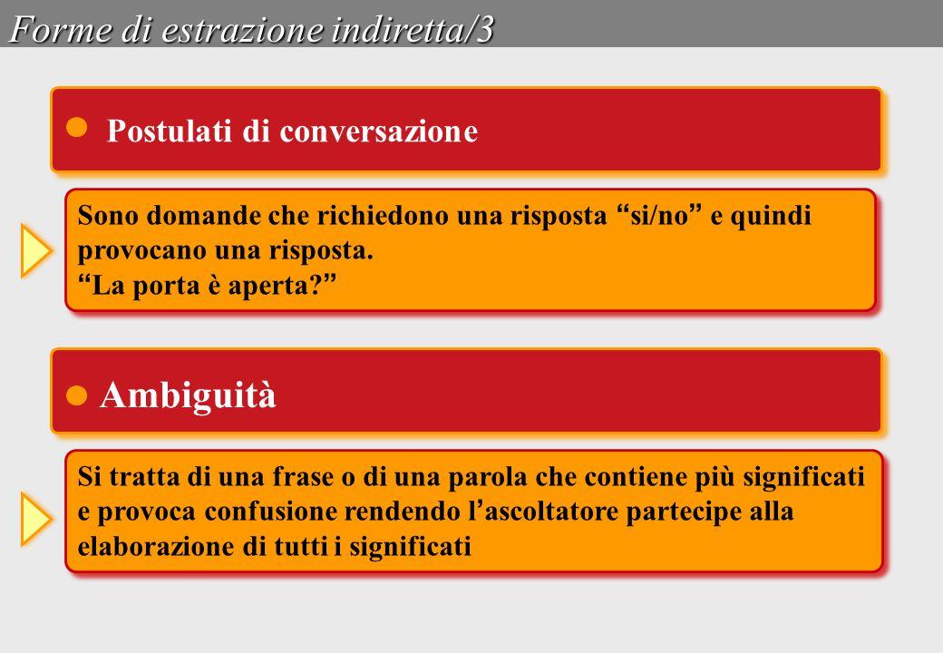 """Forme di estrazione indiretta/3 Sono domande che richiedono una risposta """" si/no """" e quindi provocano una risposta. """" La porta è aperta? """" Sono domand"""