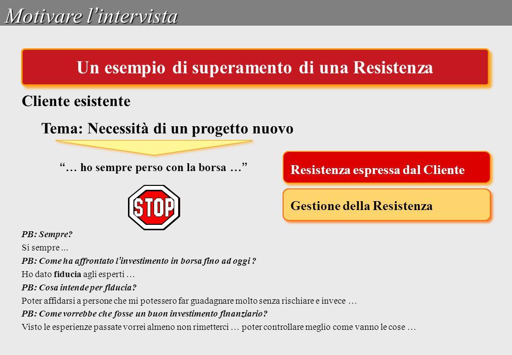 """Tema: Necessità di un progetto nuovo Gestione della Resistenza Resistenza espressa dal Cliente """" … ho sempre perso con la borsa … """" PB: Sempre? Si sem"""