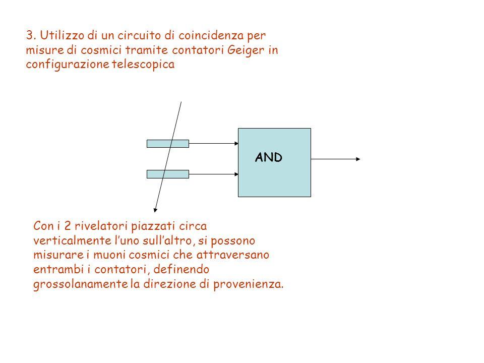 3. Utilizzo di un circuito di coincidenza per misure di cosmici tramite contatori Geiger in configurazione telescopica AND Con i 2 rivelatori piazzati